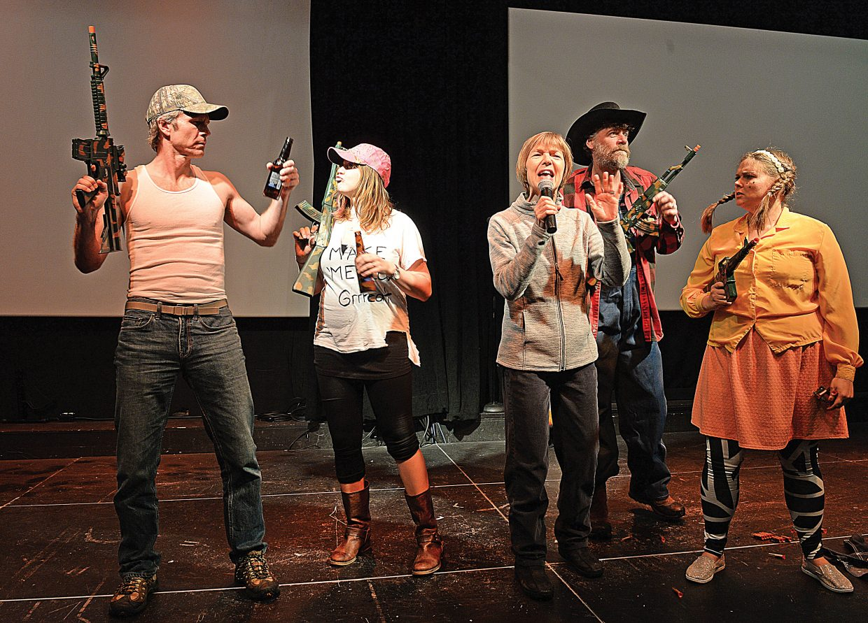 Patty Zimmer (middle) plays a reporter as she rehearses a scene from this year's Super Fun Steamboat Show along with, from left to right, Todd Danielson, Sharron Gamradt, Eric Leach and Kasey Lane . The show will take place at 8 a.m. this Friday.