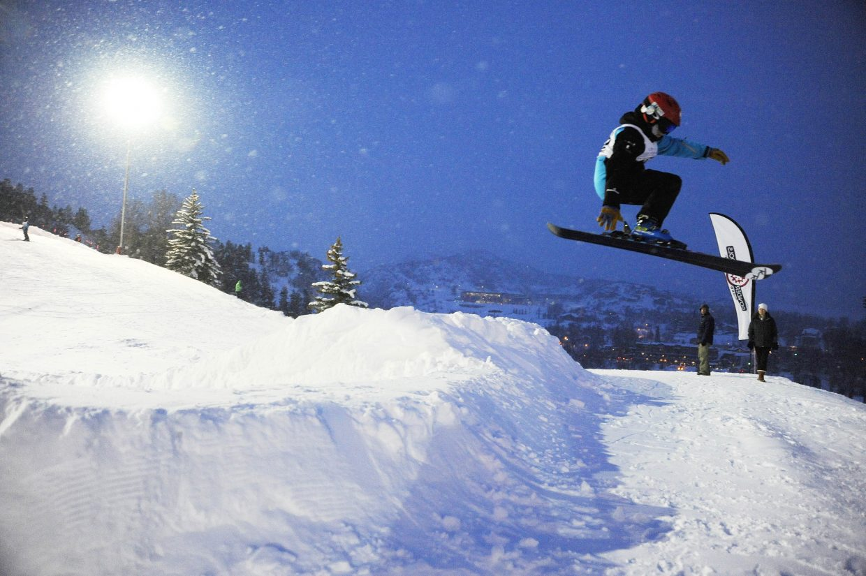 Tommy Henninger competes in the terrain park at Howelsen Hill.