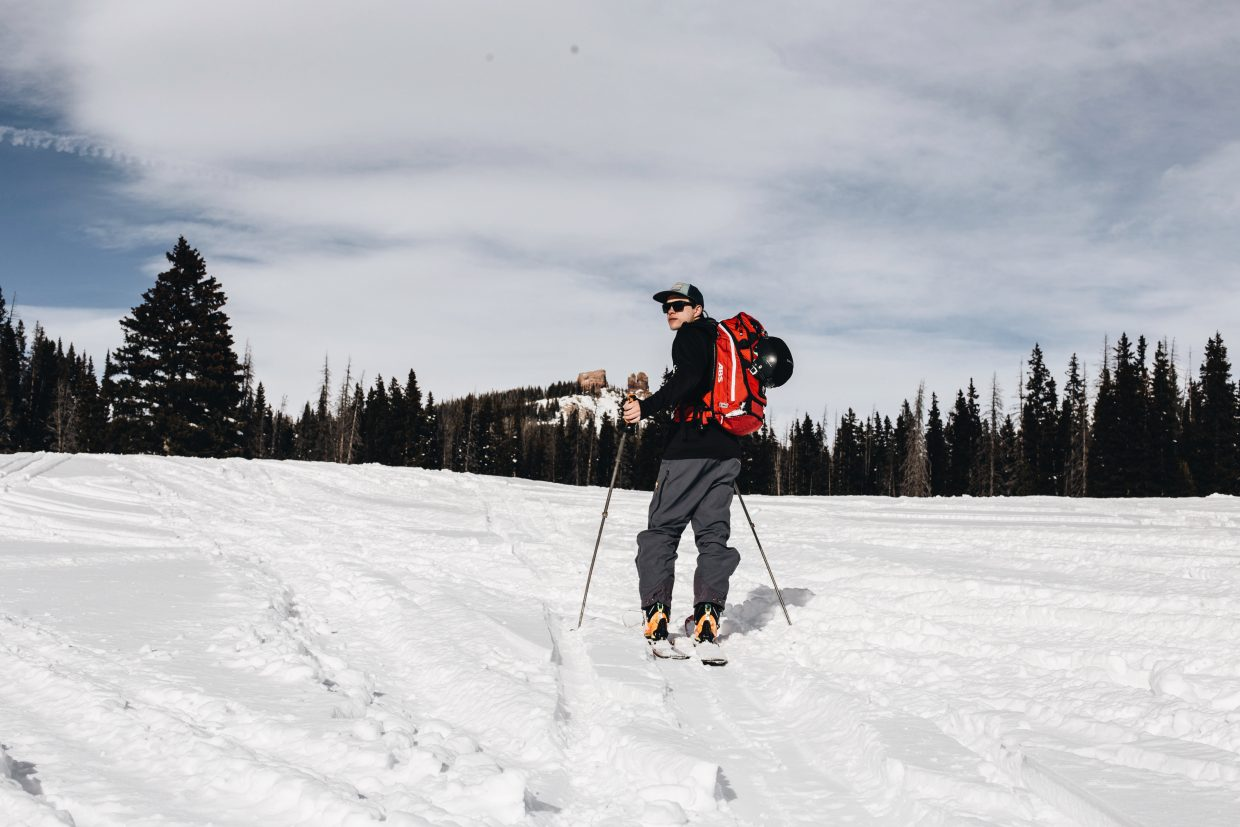 Brian Erhart skis near Rabbit Ears Peak. Erhart has started a backcountry guiding business.