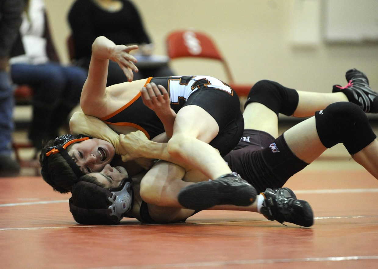 Hayden High School sophomore Judd Magee wrestles with Soroco High School freshman Lane Martindale during the Routt County Triangular meet Wednesday hosted at Steamboat Springs High School.