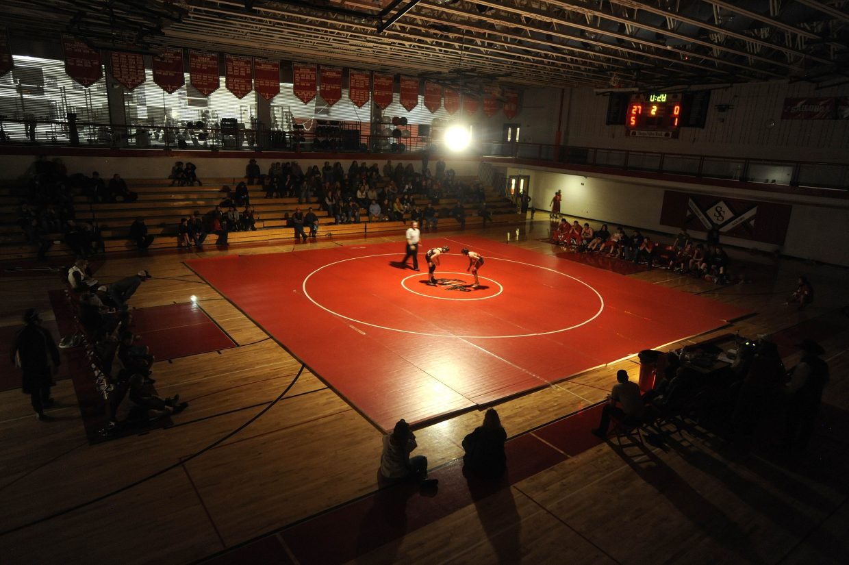 A match takes place Wednesday night during the Routt County Triangular meet at Steamboat Springs High School.