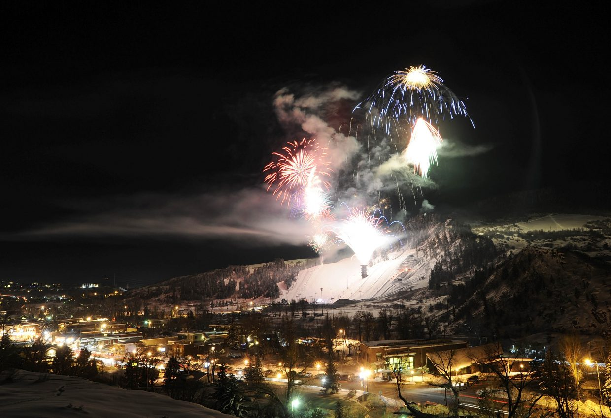 Fireworks blast off from Howelsen Hill on Saturday night during Winter Carnival.