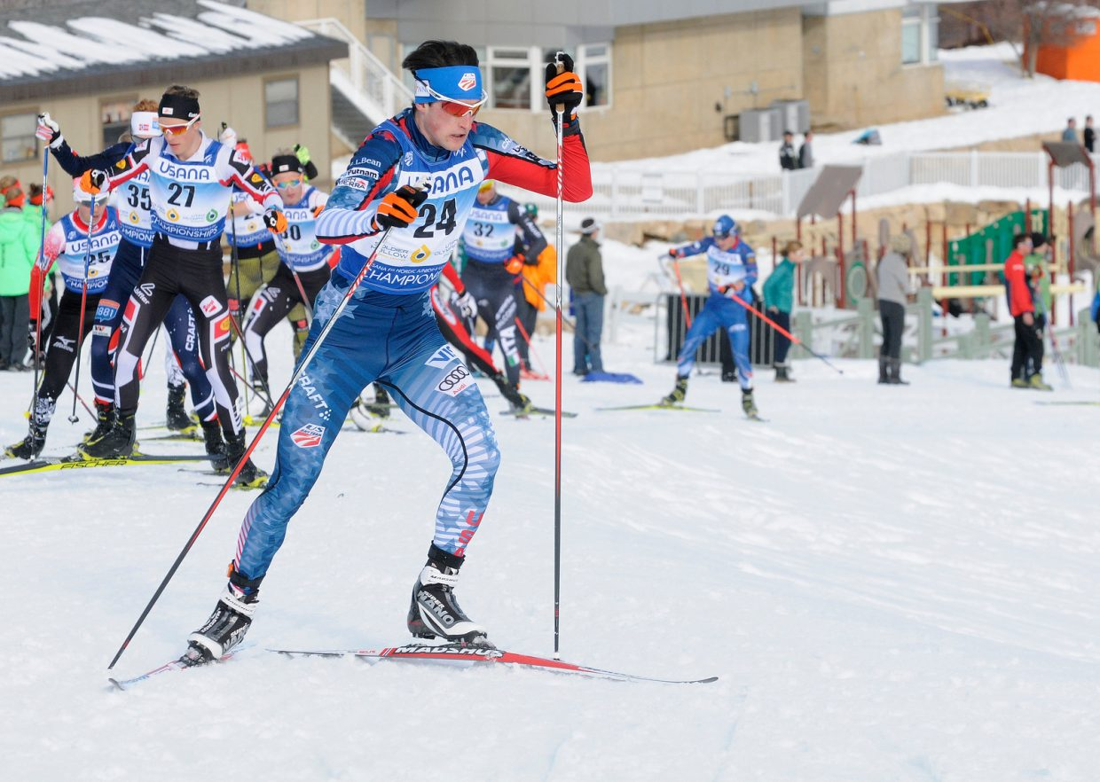 Grant Andrews takes off from the start of Saturday's Nordic combined race at World Junior Nordic Championships in Utah.