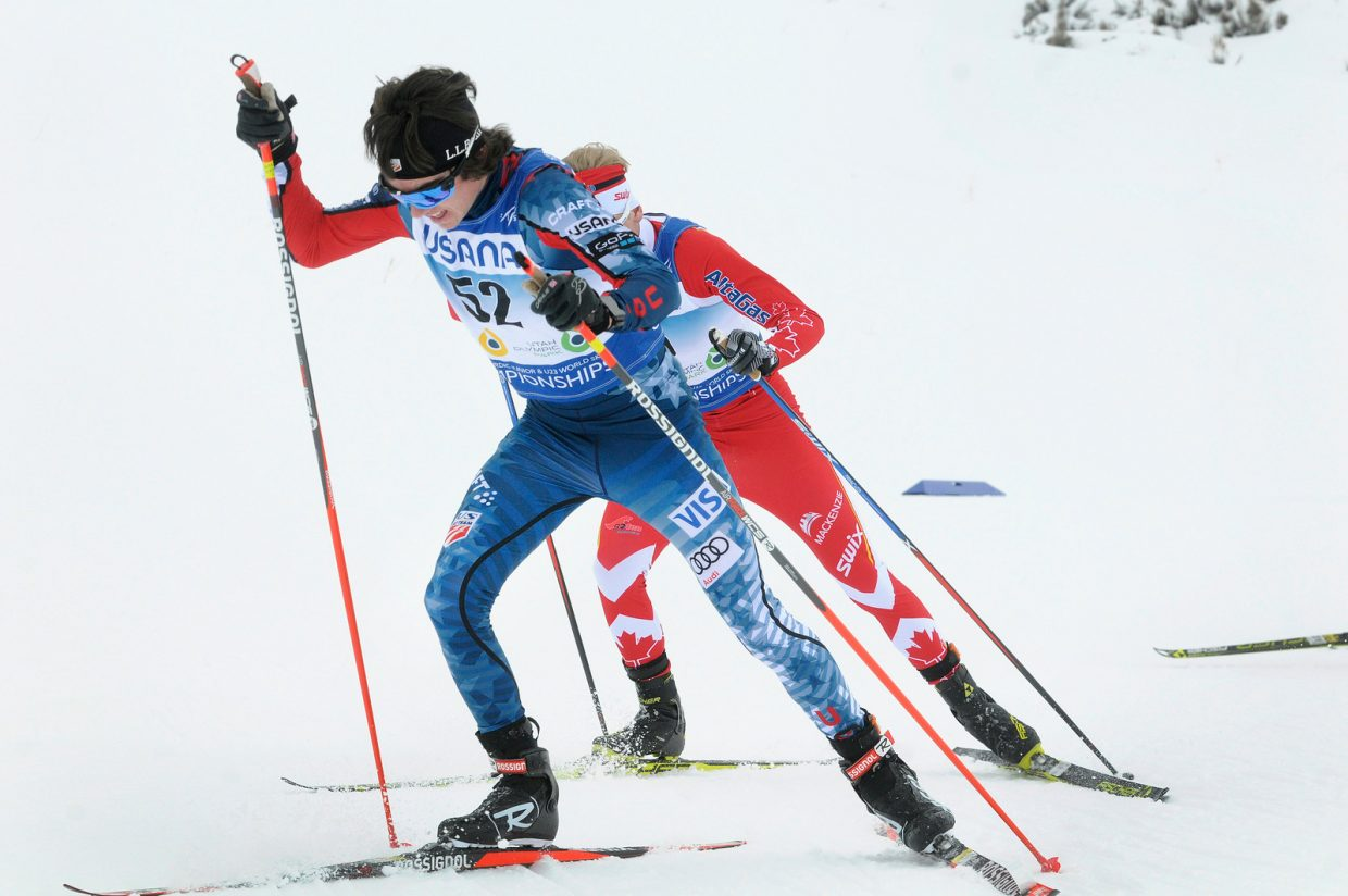 Wyatt Gebhardt charges through the pack Friday during the 20-kilometer skiathlon at the World Junior Nordic Championships in Utah. Gebhardt started 52nd in the field, but worked his way through the masses to place 12th.