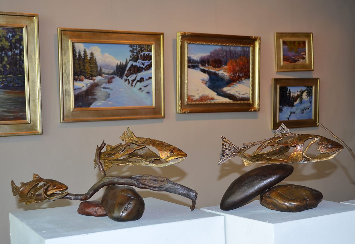 Sculptor Sandy Graves' bronze trout are paired with Bonnie McGee's oil paintings of Northern Colorado rivers in a First Friday Artwalk opening at Circle Seven Fine Art, 1009 Lincoln Ave.
