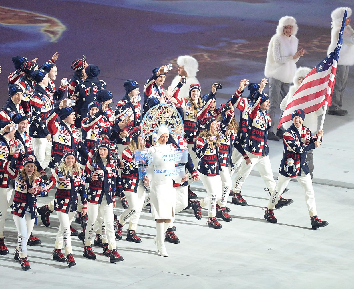 Todd Lodwick leads the U.S. Olympic Team into the 2014 Winter Olympics opening ceremony Friday.