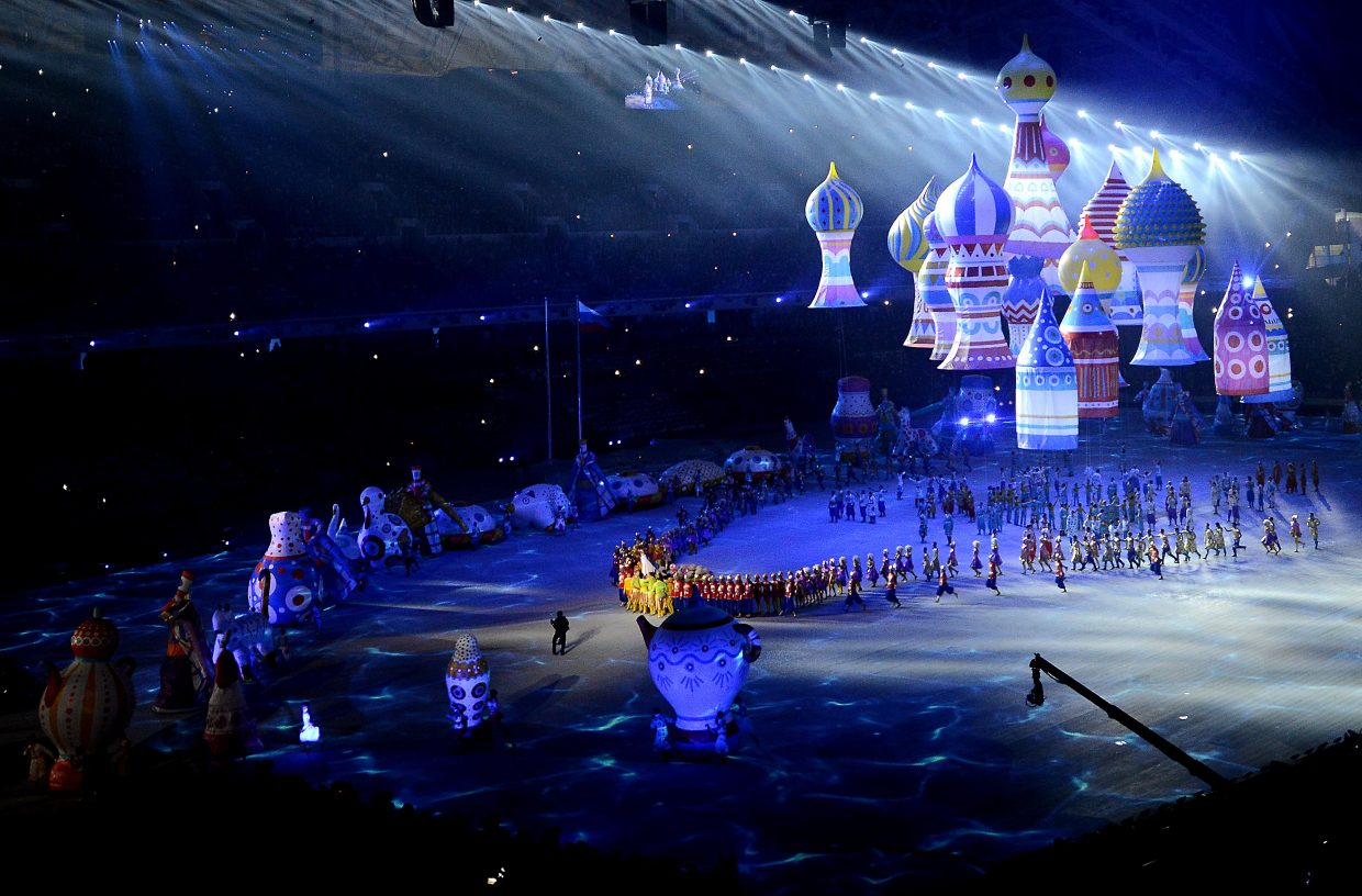 Floating buildings and twirling dancers helped open the 2014 Winter Olympics on Friday in Sochi, Russia.