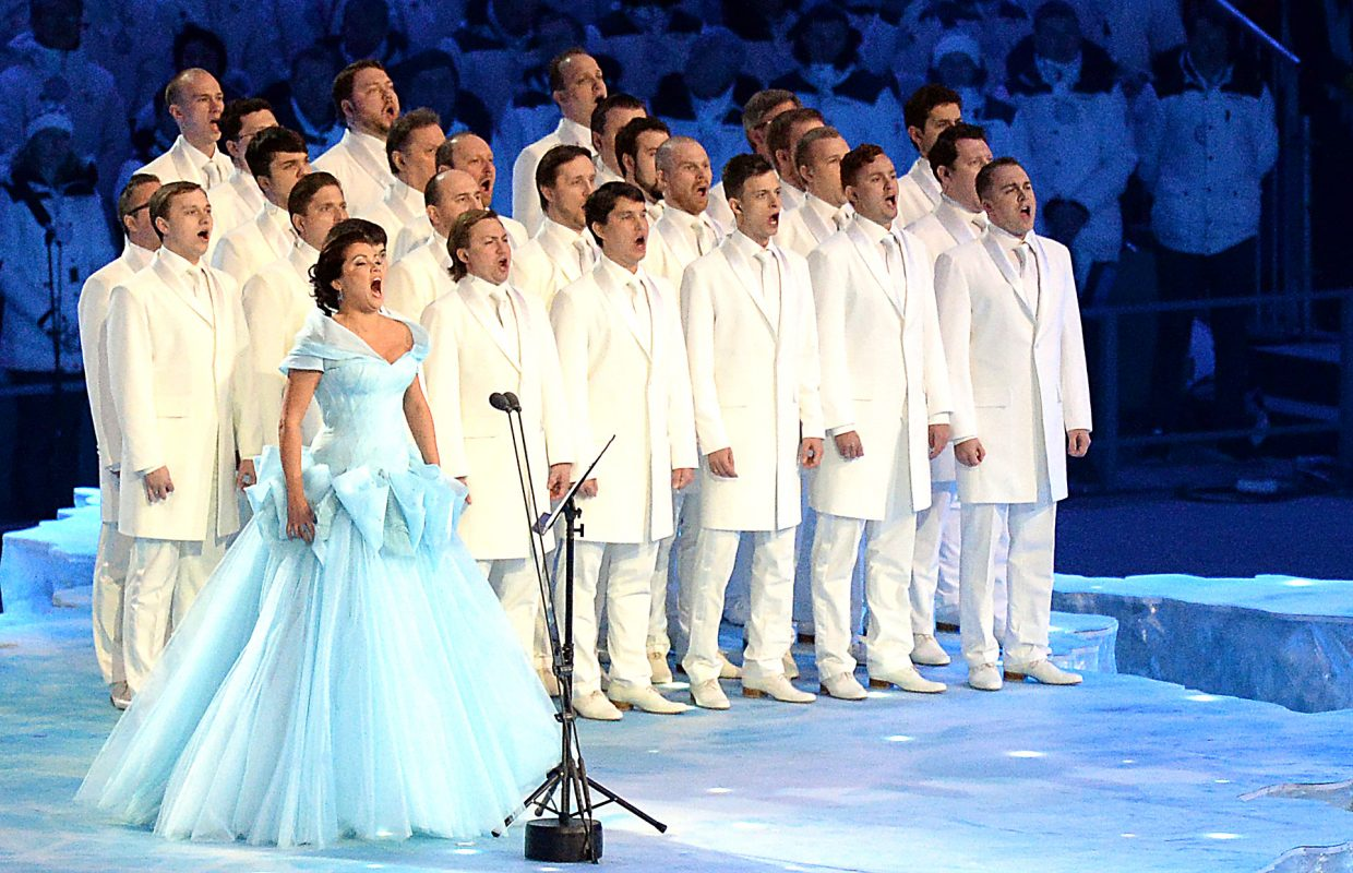 Opera soprano Anna Netrebko sings the Olympic anthem Friday at the opening ceremony for the 2014 Winter Olympics in Sochi, Russia.