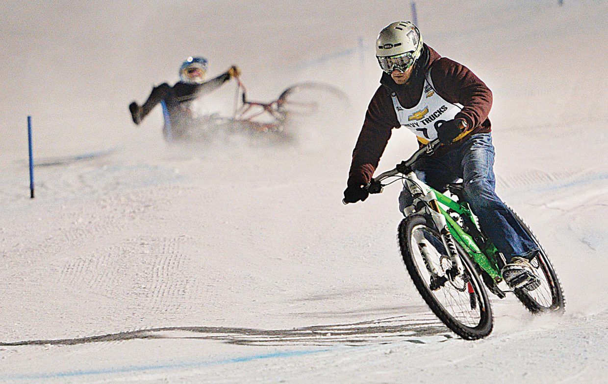 Peter Hanak wins an early heat during the Wheels Bike Shop Dual Slalom Bicycle Race Friday night at Howelsen Hill. (Photo by John Russell)