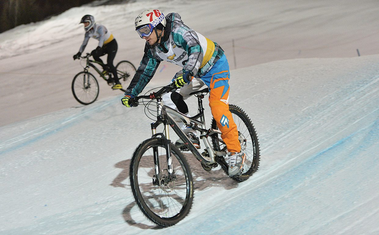 Jan Markvert races down the face of Howelsen Hill during last year's Wheels Bike Shop Dual Slalom Bicycle race.