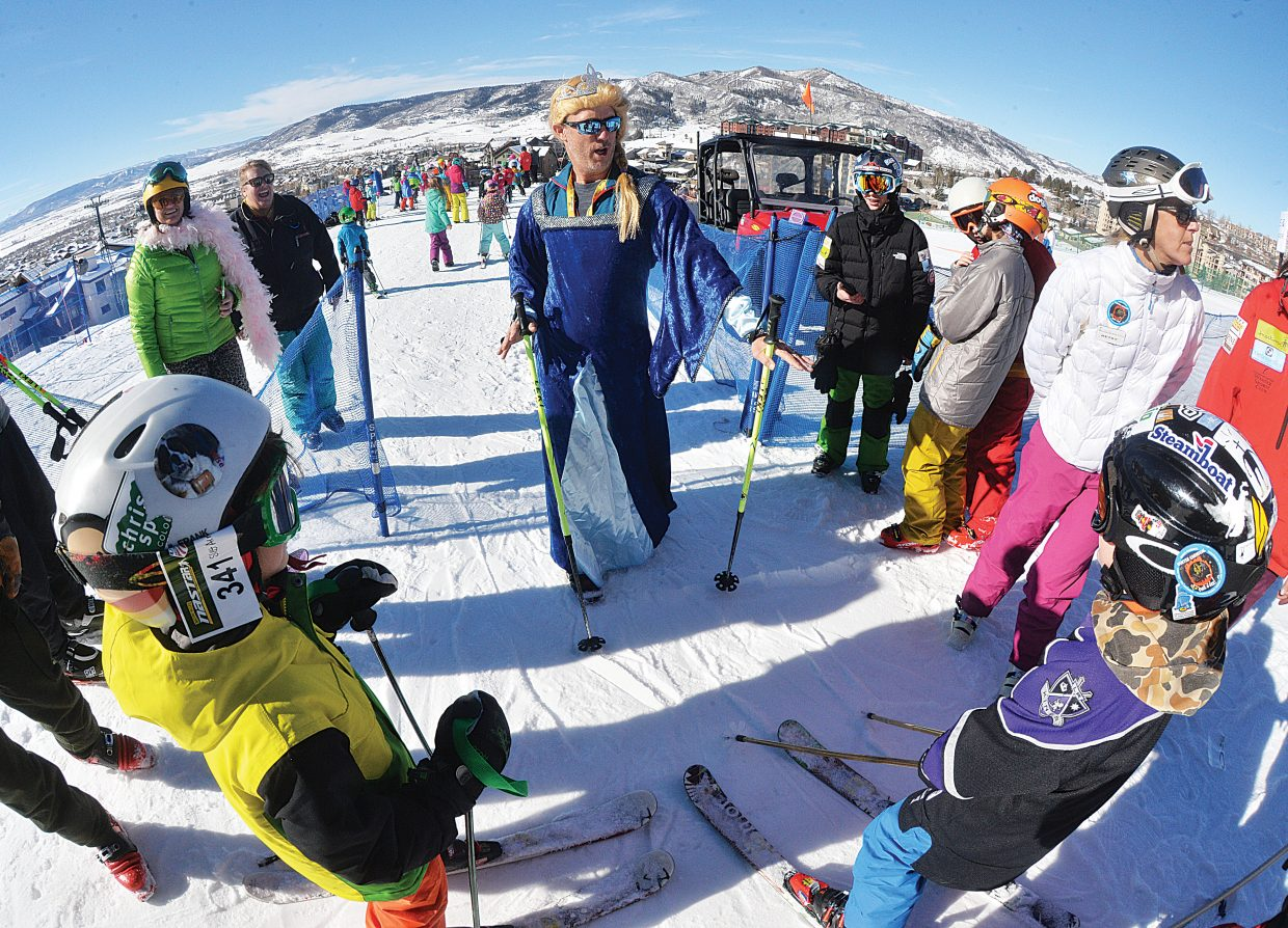 Elsa, the snow queen from Frozen, played by Craig Keefe, was on hand at the start of the Soda Pop Slalom Friday at the base of Steamboat Ski Area. Keefe kept the children in order as they moved to the starting gates for their run in the Soda Pop Slalom.