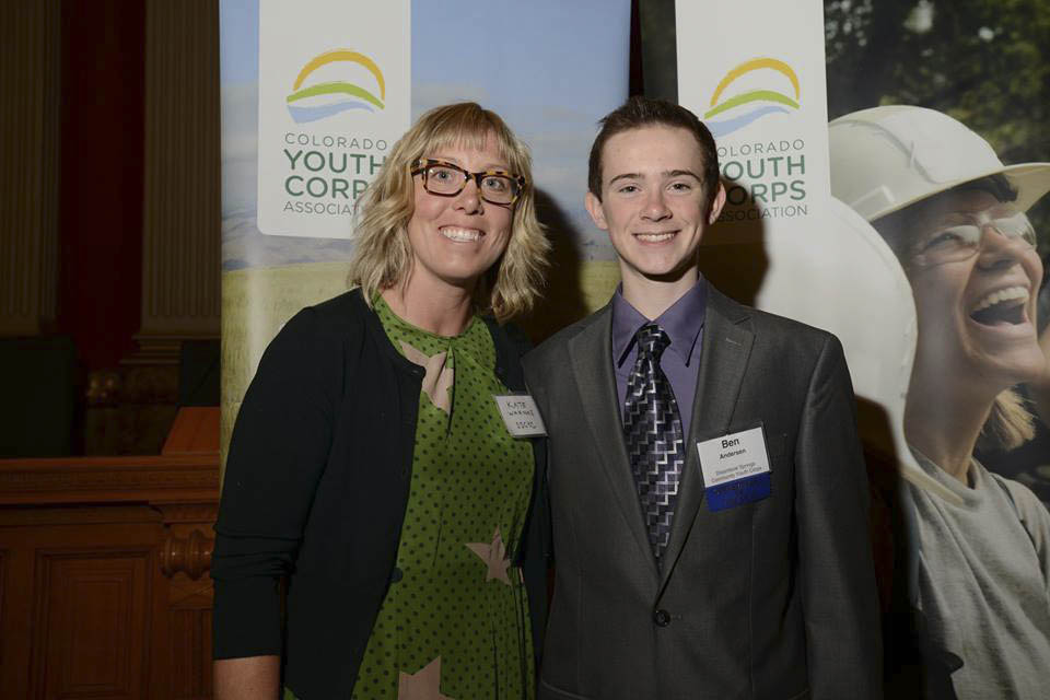 Steamboat Springs Community Youth Corps Director Kate Warnke is pictured with youth corps member Ben Anderson at the Colorado State Capitol, where he was honored as a Corpsmember of the Year.
