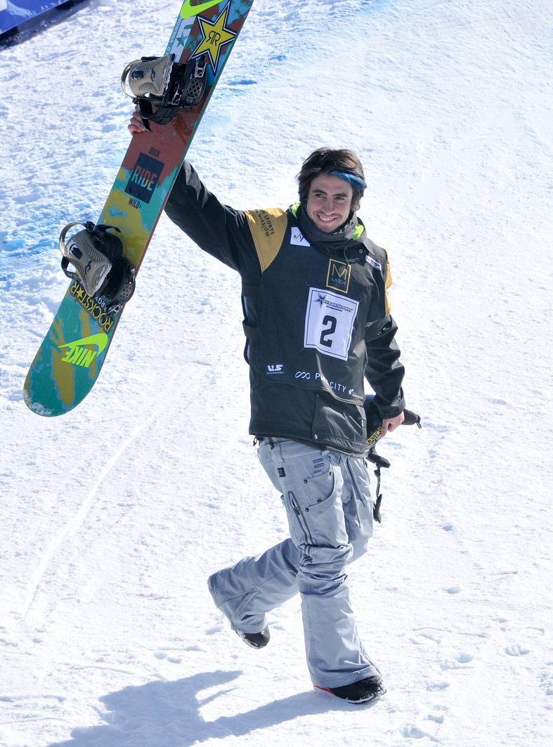 Steamboat Springs snowboarder Matt Ladley salutes the crowd after winning Saturday's U.S. Grand Prix event in Park City. It was the second consecutive win of a major event for Ladley, who also won a week prior at X Games in Aspen.