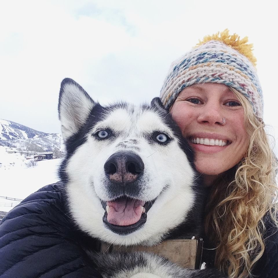 Ashlee Anderson and Alaskan husky Sitka on Friday after the two were reunited.