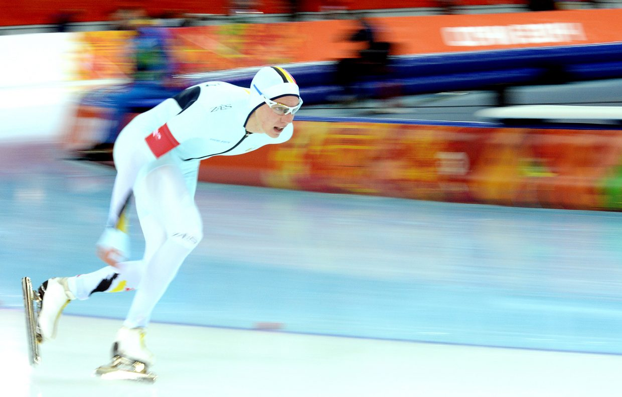 Belgian skater Bart Swings competes Saturday in the men's 5,000-meter speedskating event in Sochi, Russia at the 2014 Winter Olympic Games.