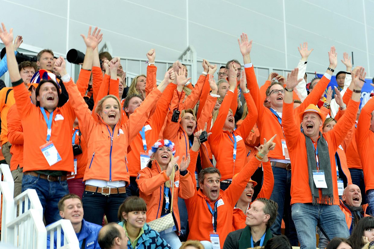 Dutch fans erupt with excitement Saturday during the men's 5,000-meter speedskating event at the Winter Olympics in Sochi, Russia.