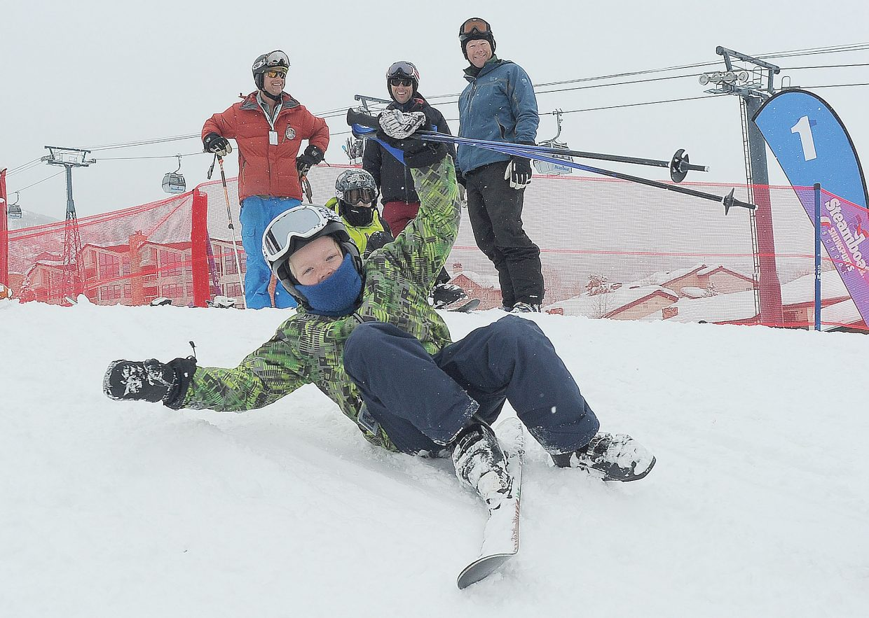 Ethan Hoy slides down a small slope at Steamboat Ski Area after finishing his run in the annual Soda Pop Slalom.