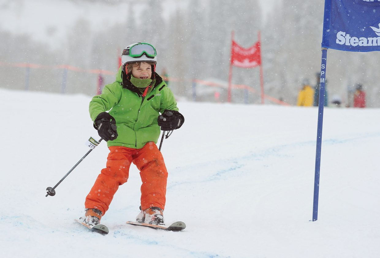 Skeeter Armstrong makes his way through the race course Friday morning during the annual Soda Pop Slalom at Steamboat Ski Area. The Steamboat Springs Winter Carnival event is a rite of passage for young skiers in Steamboat Springs and serves as a preview of a weekend full of snow-filled fun.