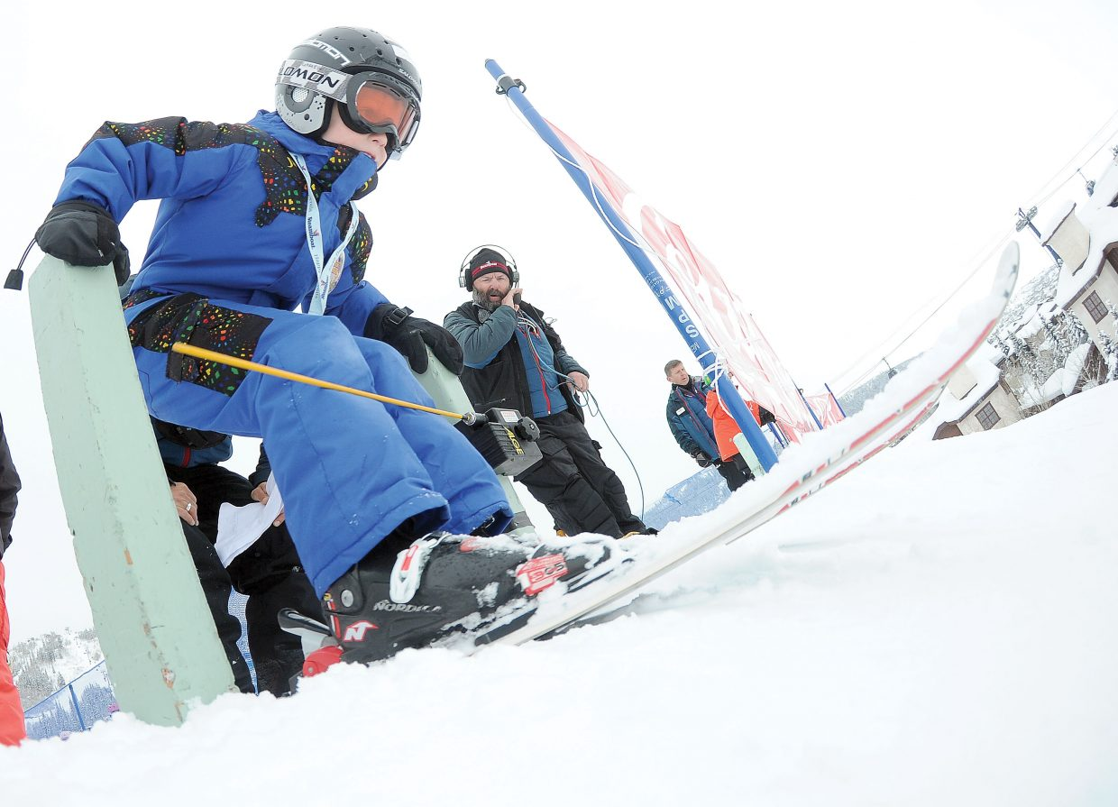Greyson Garner, 8, pushes out of the starting gate Friday morning during the annual Soda Pop Slalom at Steamboat Ski Area. The Steamboat Springs Winter Carnival event is a rite of passage for young skiers in Steamboat Springs and serves as a preview of a weekend full of fun.