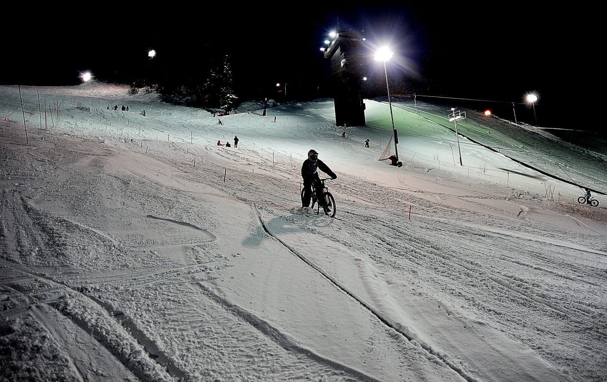 Mountain bike racers came out to Howelsen Hill in force Friday evening for the Winter Carnival dual slalom bike race.