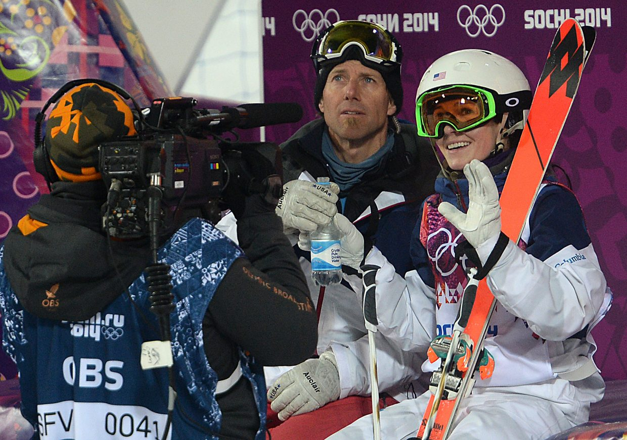 Steamboat's Eliza Outtrim waits Saturday for her score in the women's moguls finals at the Winter Olympics in Russia. She came in sixth.
