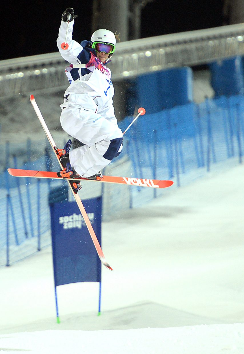 Hannah Kearney hangs high off the bottom kicker on the moguls course at Rosa Khutor Extreme Park on Saturday at the 2014 Winter Olympics. Kearney won bronze in the event.