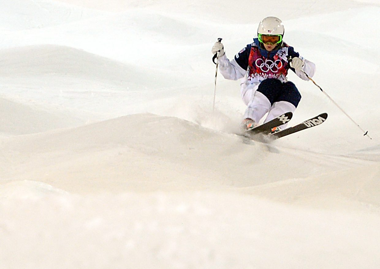 Steamboat's Eliza Outtrim skis Saturday in the women's moguls finals at the Winter Olympics in Russia. She finished sixth.