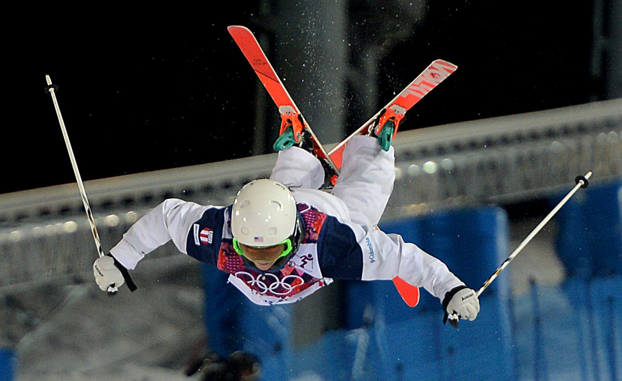 Steamboat's Eliza Outtrim flies high on a jump Saturday during the moguls finals at the Winter Olympics in Russia.