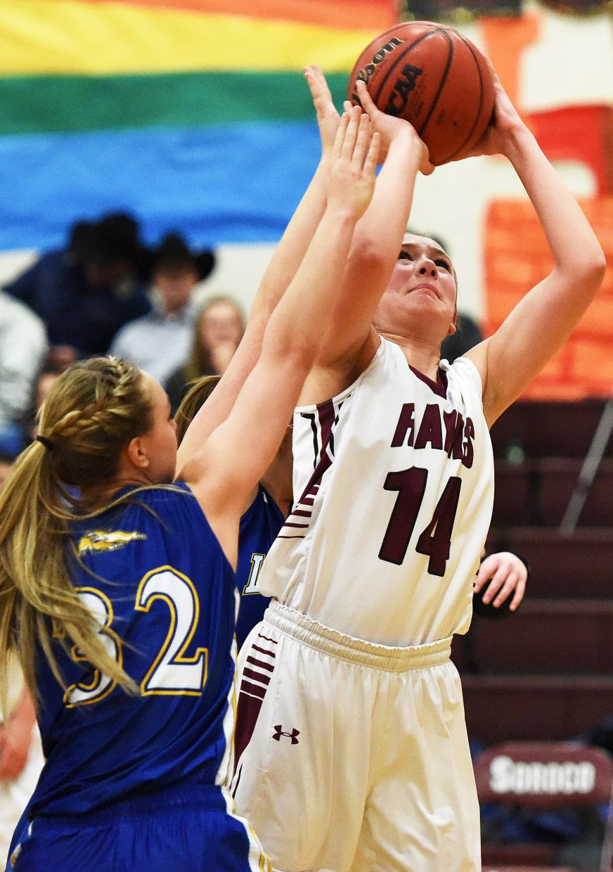 Soroco junior Braina Peterson puts up a shot Saturday against North Park. The Rams beat the Wildcats, locking Soroco into first place in the league.