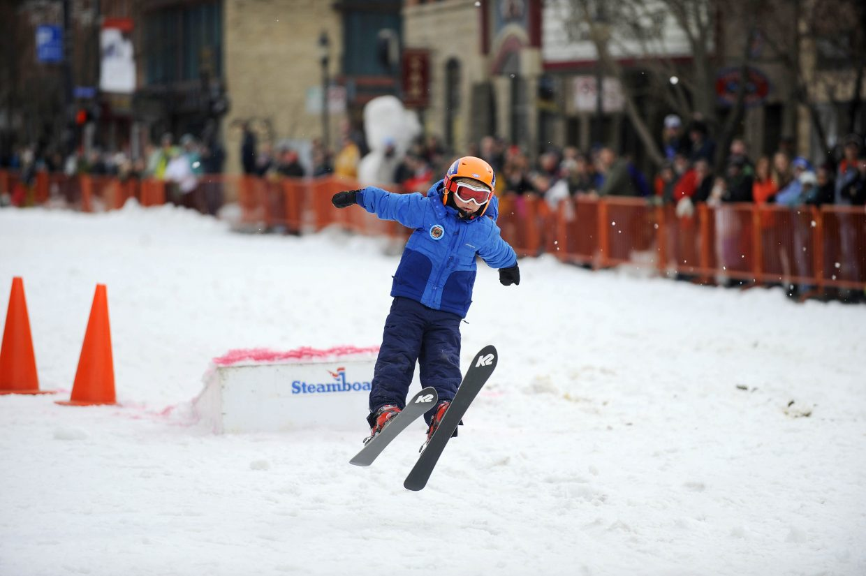 Colyer Lotz competes in the donkey jump competition Saturday during the Winter Carnival street events.