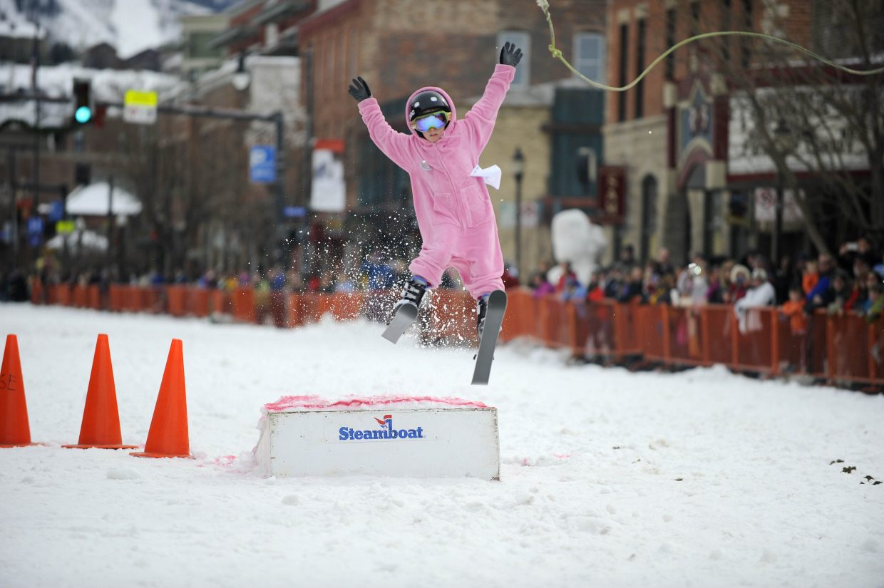 Henry Magill competes in the donkey jump competition Saturday during the Winter Carnival street events.