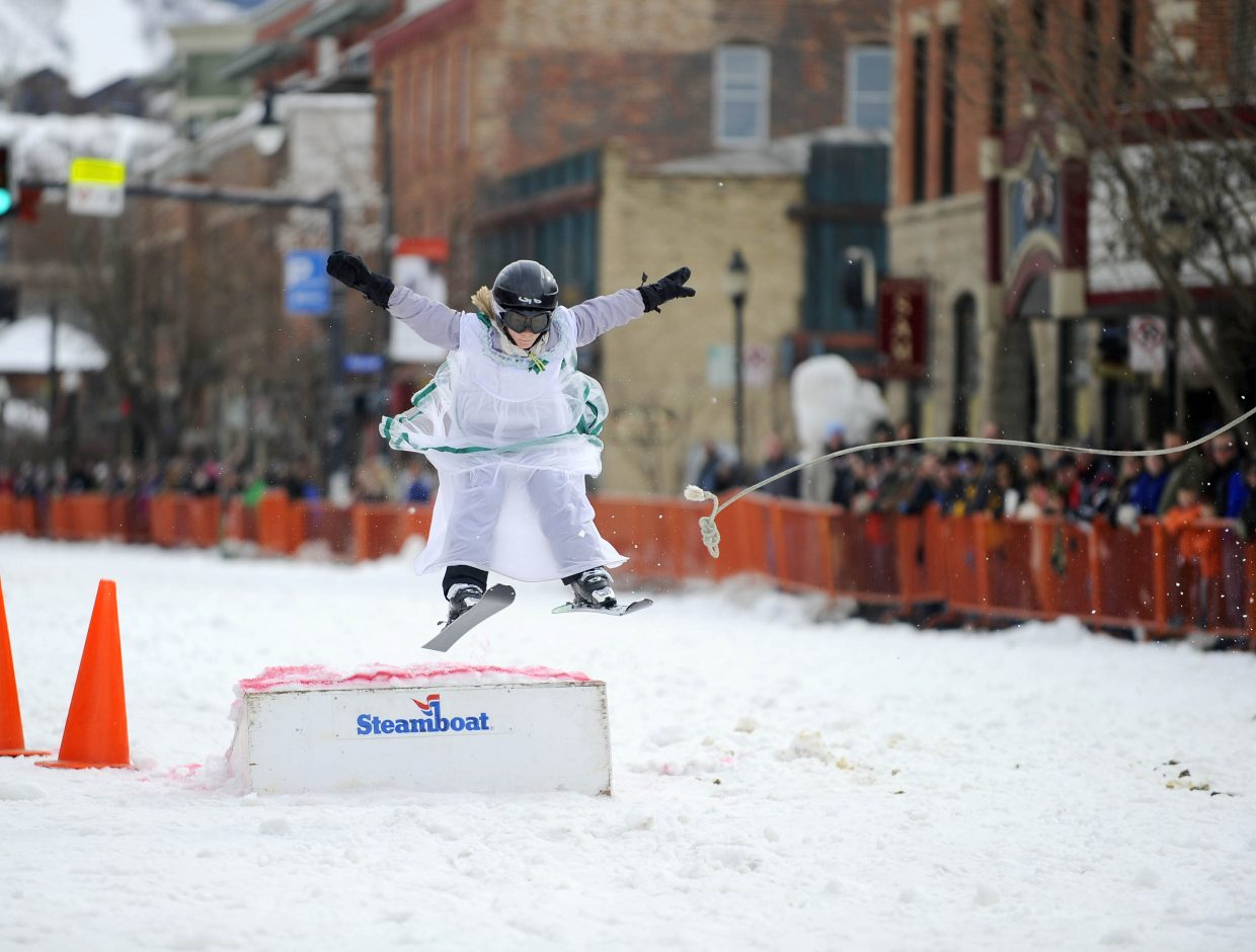 Aspen Bennett-Manke competes in the donkey jump competition Saturday during the Winter Carnival street events.