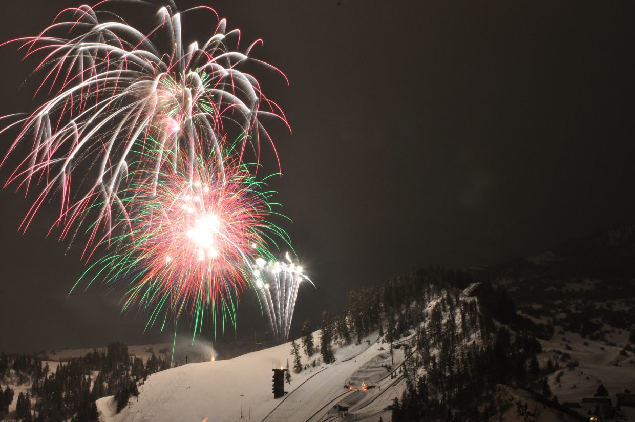 The fireworks reach their finale Saturday night at Howelsen Hill during the 101st Winter Carnival.