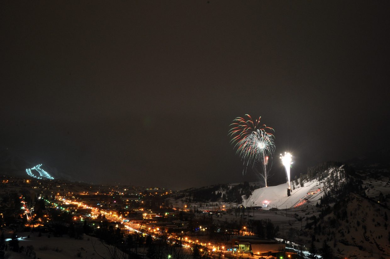 The fireworks for the 101st Winter Carnival, featuring the Lighted Man, were visible for miles in Steamboat Springs.