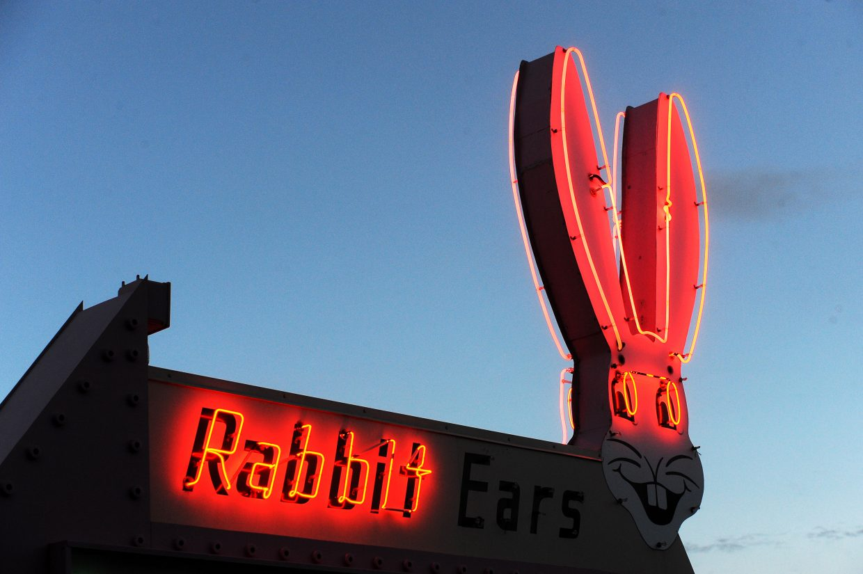 "The historic Rabbit Ears Motel sign was damaged by an unknown man who was seen climbing on top it of around 1:22 a.m. on Feb. 2. The damage includes broken neon around the rabbit's face and the word ""Ears"""