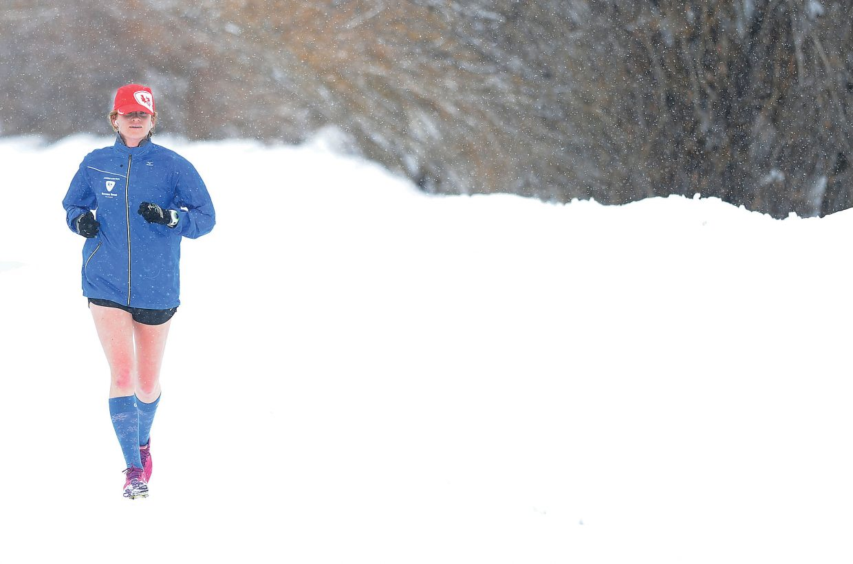 Courtney Crispin makes her way along the Yampa River Core Trail on Monday morning in Steamboat Springs.