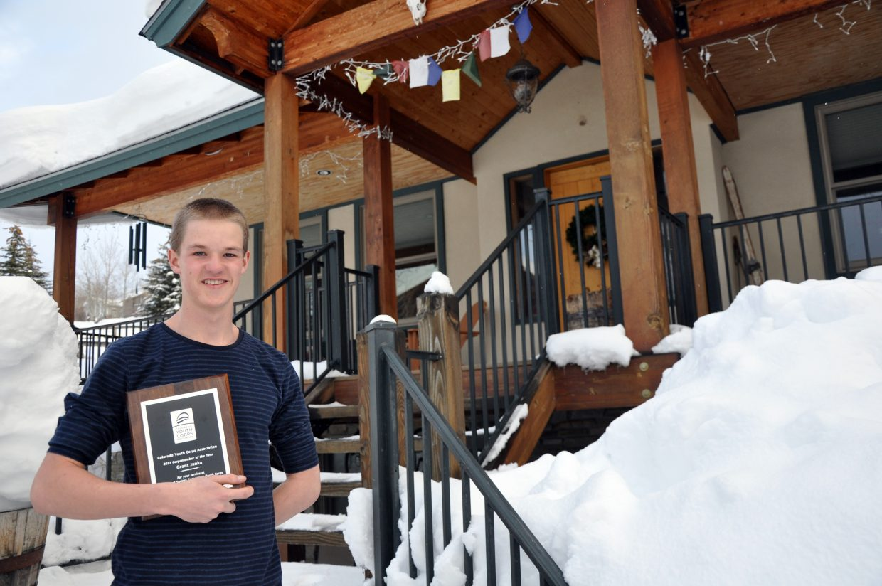 Grant Janka shows off the plaque he earned as a member of the Steamboat Springs Community Youth Corps.