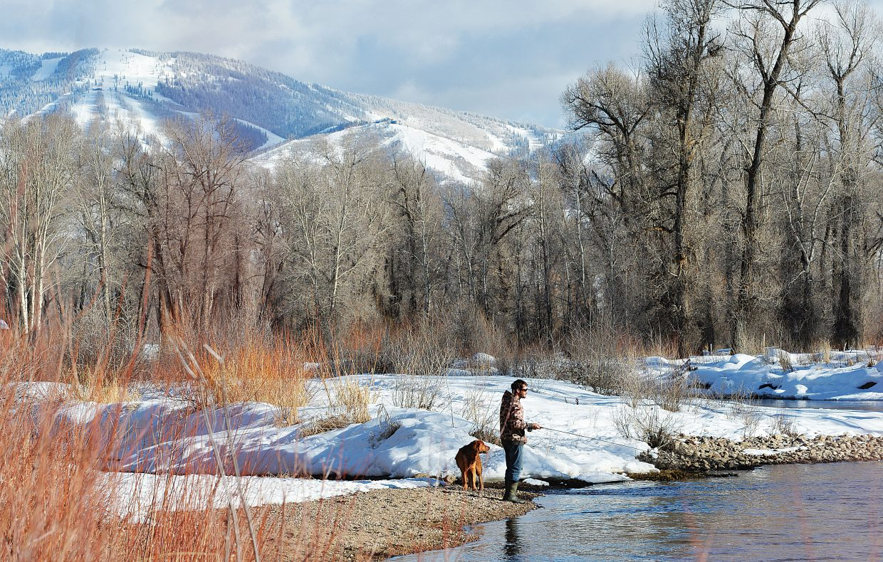 Andy Best and his dog Pedro fish along the banks of the Yampa River.