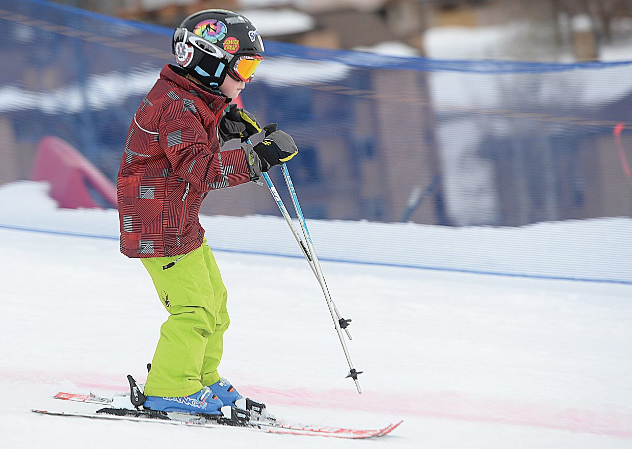 Griffin Harvey rips down the slopes during Friday's Christy Sports Soda Pop Slalom at Steamboat Ski Area.