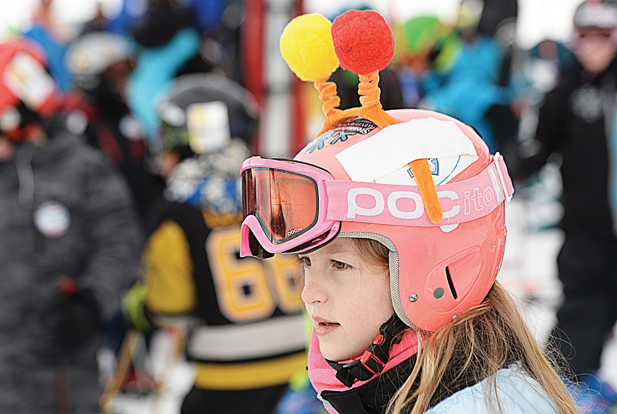 Anya Chadbourne waits for her run Friday morning at the annual Christy Sports Soda Pop Slalom, which was held at the base of Steamboat Ski Area.