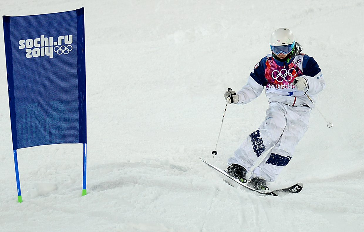 U.S. moguls skier Patrick Deneen weaves his way to the bottom Monday at the Rosa Khutor Extreme Park in Russia during the men's moguls event at the 2014 Winter Olympics. Deneen, who trained briefly with the Steamboat Springs Winter Sports Club, finished sixth.
