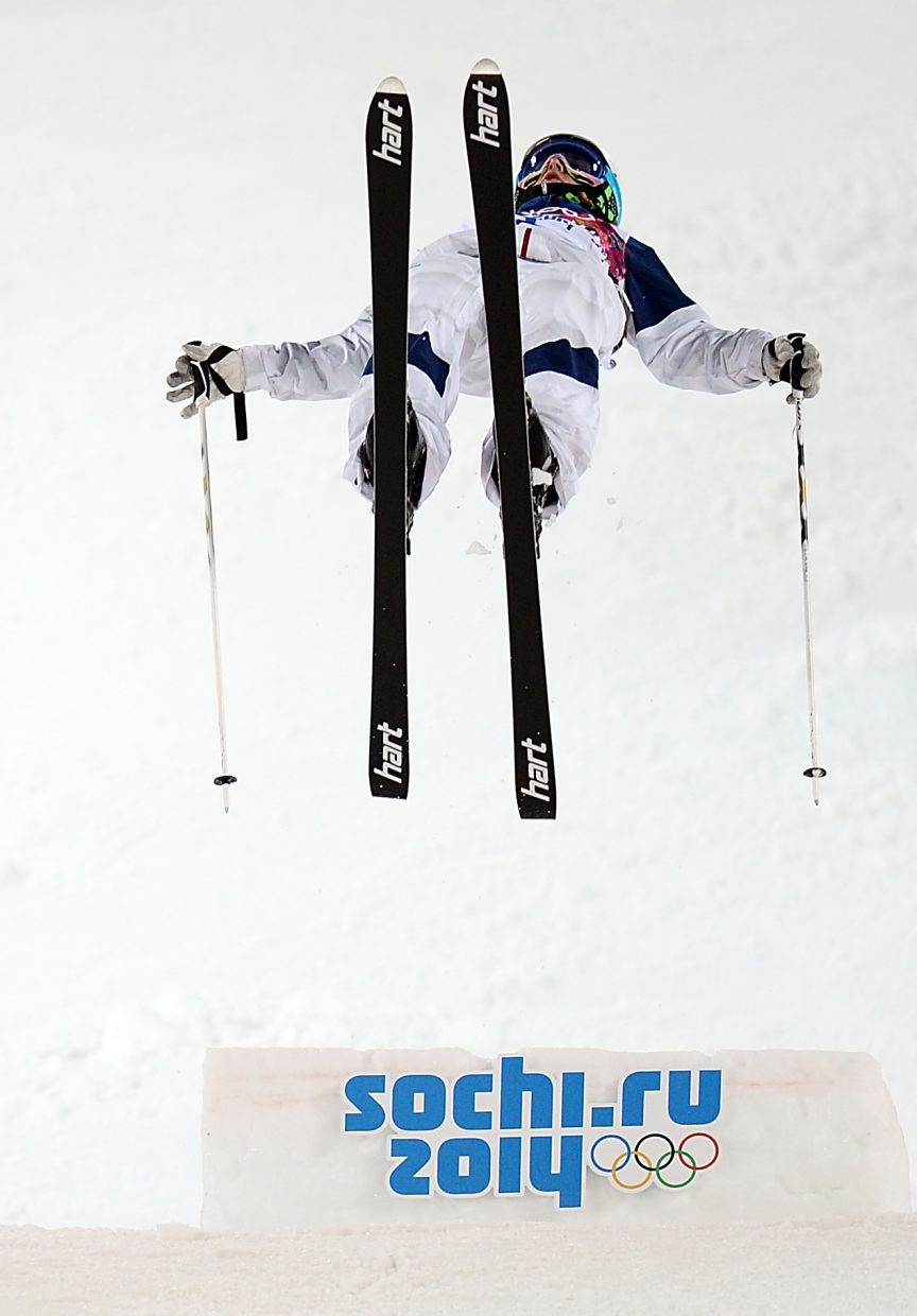 American Patrick Deneen takes off from the bottom kicker Monday during the men's moguls competitions at the 2014 Winter Olympics.