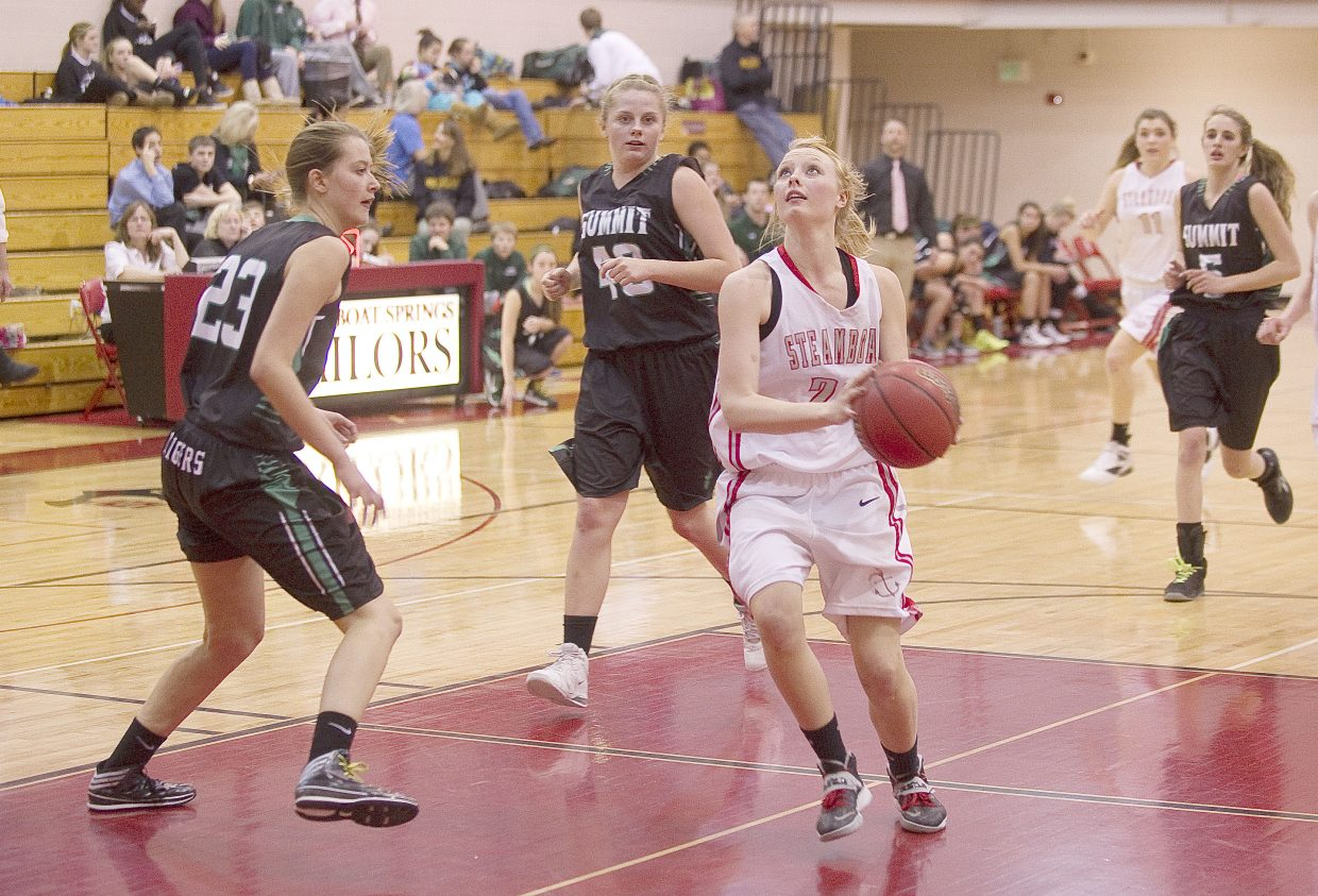 Steamboat Springs junior Megan Limberg drives to the basket in the first half of Tuesday night's 49-28 victory against Summit County.