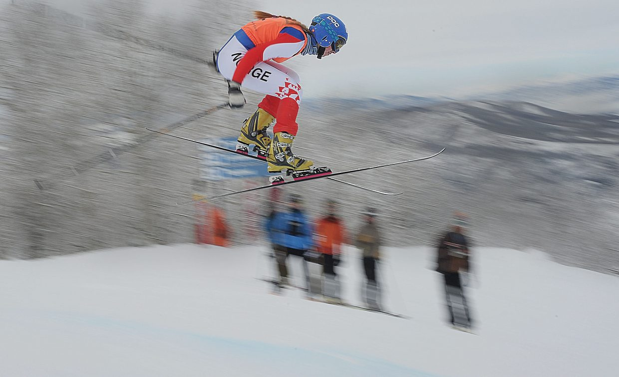 Norway's Guro Helde Kjoelseth flys over a jump during the first of four World Cup events this week in Steamboat Springs. Kjoelseth placed sixth in the final results.