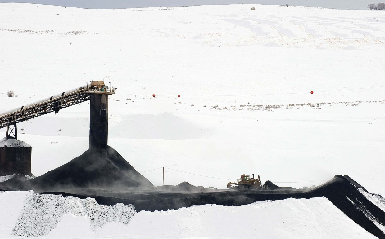 A bulldozer moves coal at the Twentymile Mine in January.