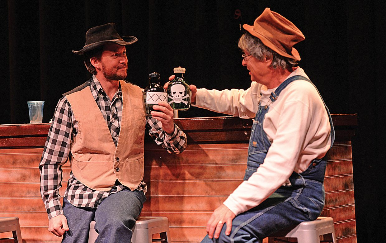 "Chris Wadopian, left, and Arty Smith share a scene while rehearsing ""The Secret of Yonder Mountain."" The western melodrama will be presented at 7 p.m. each Thursday in February and March at the Chief Theater."
