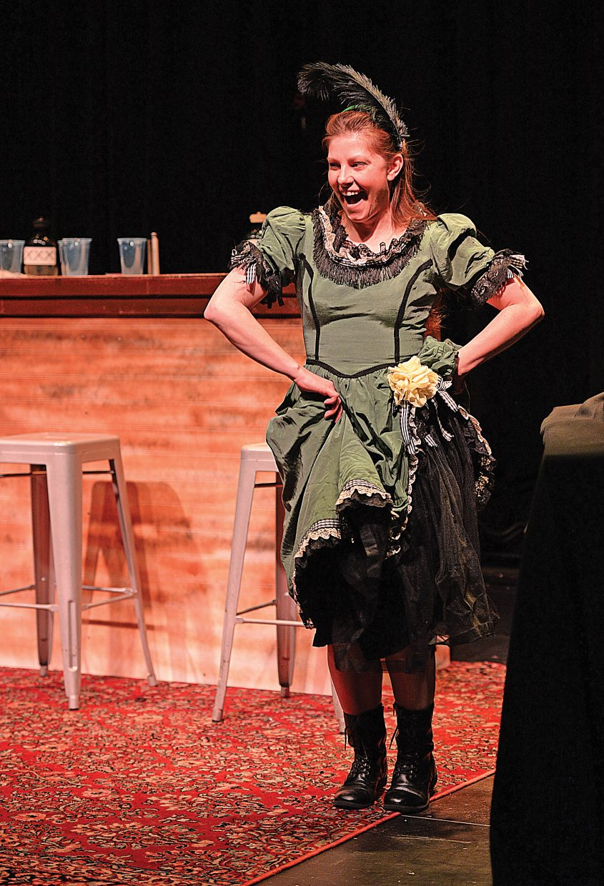 "Robin David rehearses a scene from ""The Secret of Yonder Mountain."" The western melodrama will be presented at 7 p.m. each Thursday in February and March at the Chief Theater."