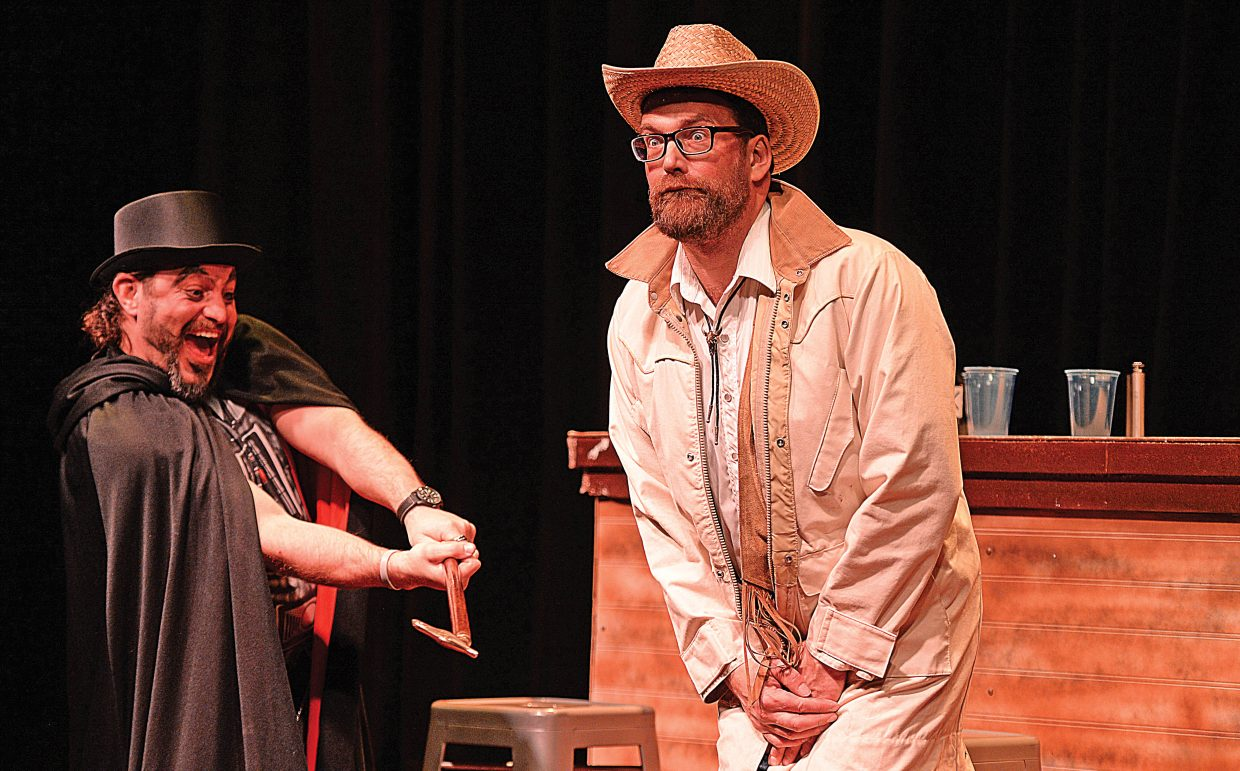 "Calder Young, left, and Scott Parker share a scene while rehearsing ""The Secret of Yonder Mountain."" The western melodrama will be presented at 7 p.m. each Thursday in February and March at the Chief Theater."