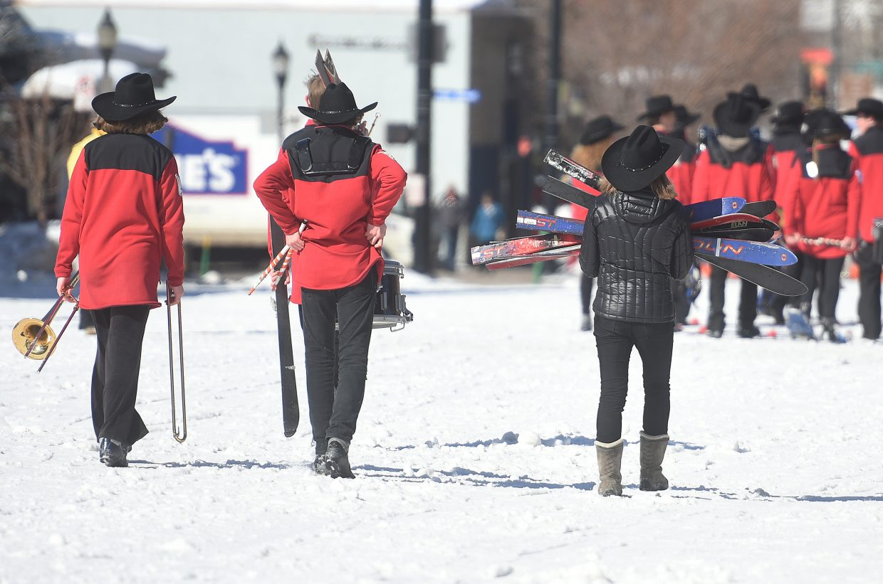 Marching with skis on isn't exactly easy as a few Steamboat Springs High School marchers discovered Sunday during the diamond hitch parade in downtown Steamboat.