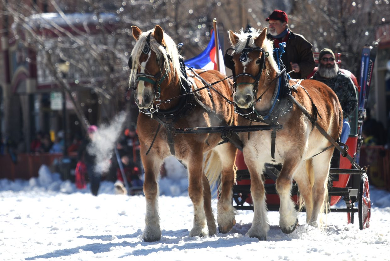 A team of horses leads the way down Lincoln Avenue on Sunday during the diamond hitch parade.